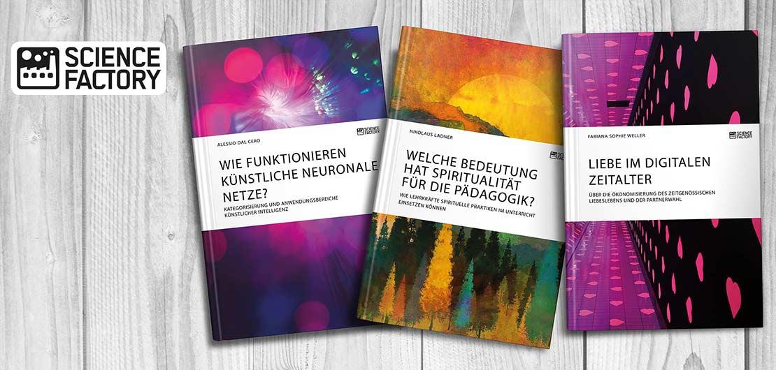 Vorschaubild: Titelbeispiele aus dem Portfolio von ScienceFactory
