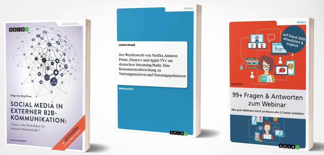 Vorschaubild: Titelbeispiele aus dem Portfolio des GRIN-Verlags